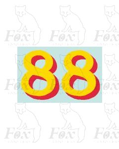 (24mm high) Yellow/red shadow - 1 pair number 8