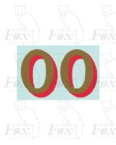 (42mm high) Gold/red shadow - 1 pair number 0
