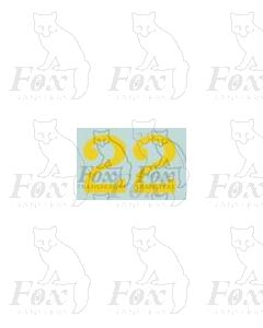 (11.25mm high) Yellow - 1 pair number 2