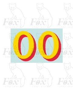 (20.75mm high) Yellow/red shadow - 1 pair number 0