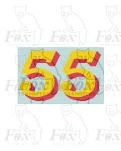 (14.75mm high) Yellow/red shadow - 1 pair number 5