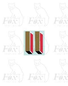 Gold/red/black (19.25mm high) - 1 pair number 1