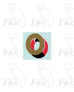 (15mm high) Gold/red/black/white - 1 x number 0