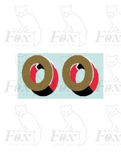 (44mm high) Gold/red/black/white - 1 pair number 0