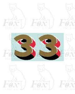(44mm high) Gold/red/black/white - 1 pair number 3