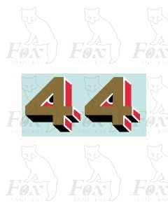 Gold/red/black (9.75mm high) - 1 pair number 4