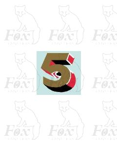 (7.75mm high) Gold/red/black/white - 1 x number 5