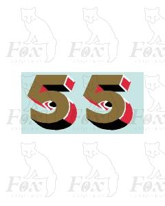 Gold/red/black (9.75mm high) - 1 pair number  5
