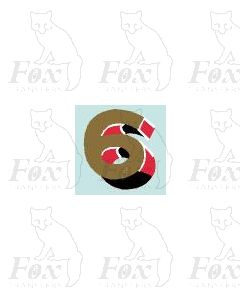 (7.75mm high) Gold/red/black/white - 1 x number 6