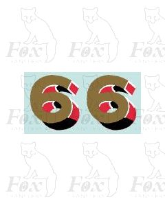 (44mm high) Gold/red/black/white - 1 pair number 6