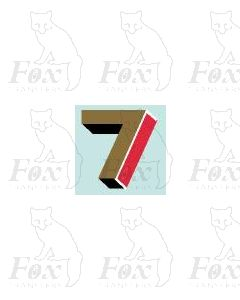 (7.75mm high) Gold/red/black/white - 1 x number 7
