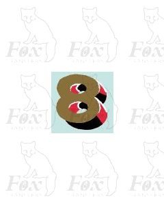 (7.75mm high) Gold/red/black/white - 1 x number 8