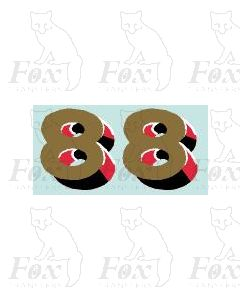(44mm high) Gold/red/black/white - 1 pair number 8