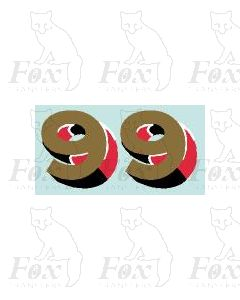 (30.5mm high) Gold/red/black/white - 1 pair number 9