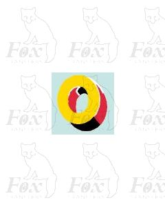 (7.75mm high) Yellow/red/black/white - 1 x number 0