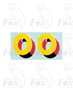 (23mm high) Yellow/red/black/white - 1 pair number 0