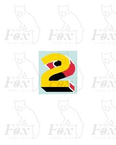 (7.75mm high) Yellow/red/black/white - 1 x number 2