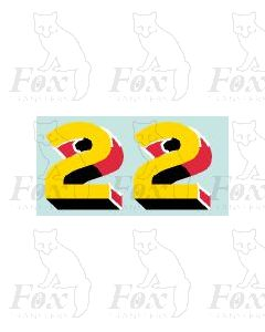 (44mm high) Yellow/red/black/white - 1 pair number 2