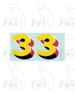 (30.5mm high) Yellow/red/black/white - 1 pair number 3