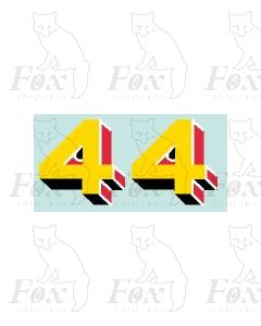 Yellow/red/black (28mm high) - 1 pair number 4
