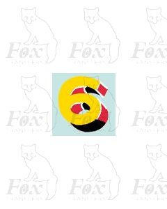 (7.75mm high) Yellow/red/black/white - 1 x number 6
