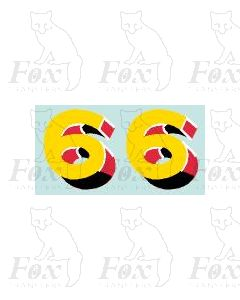 (44mm high) Yellow/red/black/white - 1 pair number 6