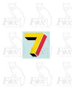 (7.75mm high) Yellow/red/black/white - 1 x number 7
