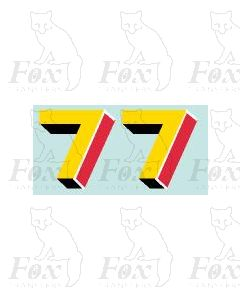 (44mm high) Yellow/red/black/white - 1 pair number 7