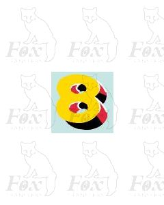 (7.75mm high) Yellow/red/black/white - 1 x number 8