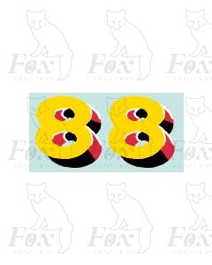 (30.5mm high) Yellow/red/black/white - 1 pair number 8