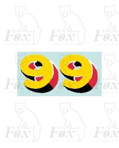 (44mm high) Yellow/red/black/white - 1 pair number 9