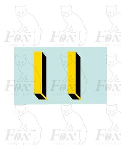 Yellow/black with shadow & highlight (33.5mm high) 1 pair number 1