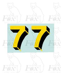 Yellow/black with shadow & highlight (23mm high) 1 pair number 7