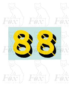 Yellow/black with shadow  & highlight (11.7mm high) 1 pair number 8