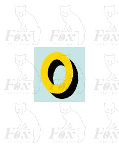 (15.5mm high) Yellow/black with shadow 1 x number 0