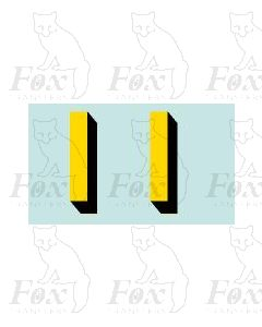 Yellow/black with shadow (11.7mm high) 1 pair number 1