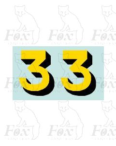 Yellow/black with shadow (11.7mm high) 1 pair number 3