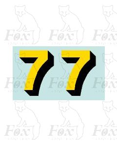 Yellow/black with shadow (17mm high) 1 pair number 7