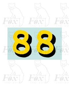 Yellow/black with shadow (11.7mm high) 1 pair number 8