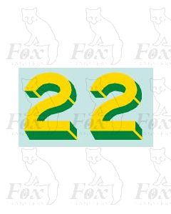 Yellow/green with shadow & highlight (11.7mm high) 1 pair number 2