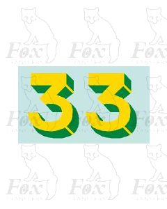 Yellow/green with shadow & highlight (11.7mm high) 1 pair number 3