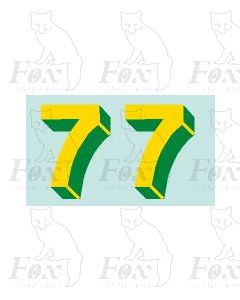 Yellow/green with shadow & highlight (33.5mm high) 1 pair number 7