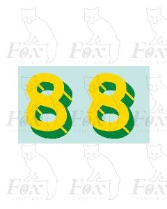 Yellow/green with shadow & highlight (17mm high) 1 pair number 8