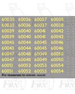 Cabside Numbersets 60035-60054