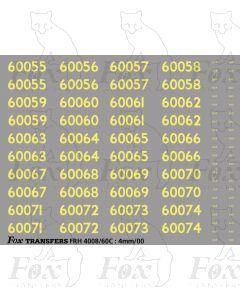 Cabside Numbersets 60055-60074