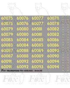 Cabside Numbersets 60075-60094