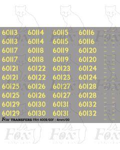 Cabside Numbersets 60113-60132