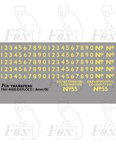 Cabside Numbers for DEPARTMENTAL LOCOMOTIVE No 55