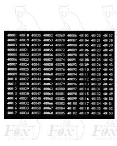 Midland Region Smokebox Numbersets 40001-40153