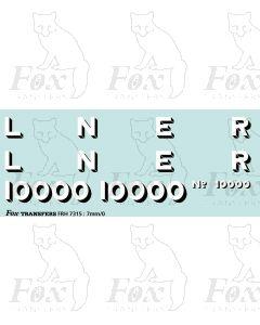 LNER Gresley Hush-Hush Loco Lettering/Numbering 10000